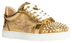 Christian Louboutin Sneakers Spikes Studded Metallic Gold Athletic