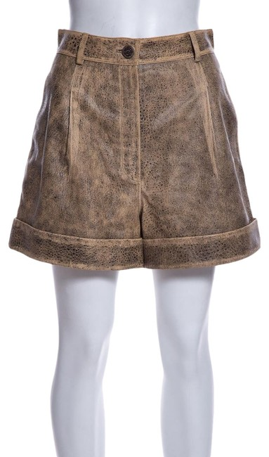 Item - Tan & Black Leather Shorts Size 6 (S, 28)