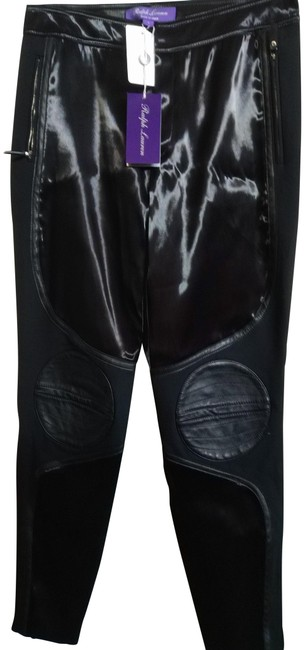 Item - Black Shiny Motopants with Leather Patches Pants Size 4 (S, 27)
