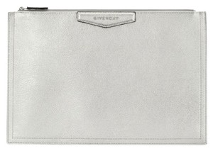 Givenchy Leather Rectangular Zippered Made In Italy Logo Patch Silver Clutch