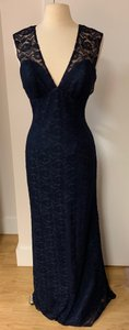 Wtoo Navy Blue Lace 799 Formal Bridesmaid/Mob Dress Size 10 (M)