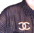 Chanel RARE CC XXXL Jumbo Gripoix baguette crystals gold hardware brooch Image 1