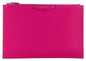 Givenchy Leather Rectangular Zippered Made In Italy Logo Patch Pink Clutch