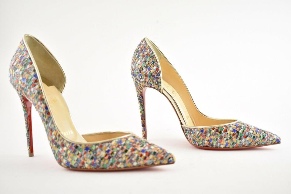 Christian Louboutin Multicolor Iriza 100 Red Green Gold Tres Vitraux Glitter Stiletto Heel Pumps Size EU 37.5 (Approx. US 7.5) Regular (M, B)