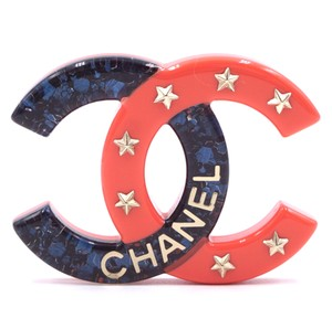 Chanel Rare CC Inlay glitter resin star gold Brooch Pin