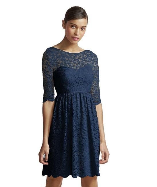 Item - Navy Blue Marquis Lace Jy510 Casual Bridesmaid/Mob Dress Size 10 (M)