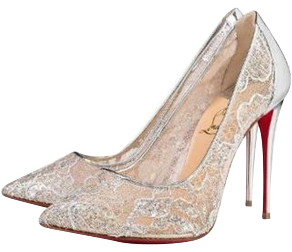 online store 3f289 46784 Christian Louboutin Silver Follies Lace 100 Rete Lurex Metallic Pumps Size  EU 36 (Approx. US 6) Regular (M, B) 23% off retail