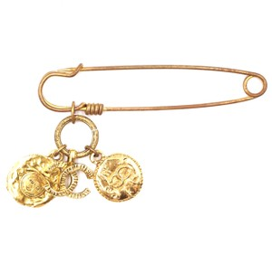 Chanel RARE CC Hammered Charms Gold Pin Brooch
