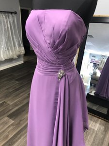 House of Wu Purple Chiffon Mother Bride Modest Bridesmaid/Mob Dress Size 14 (L)