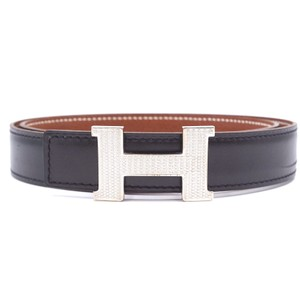 Hermès RARE 24Mm silver Guilloche H Reversible leather Belt size 70