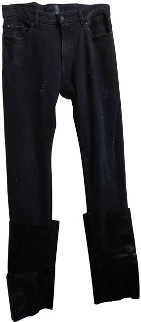 Item - Black Distressed Denim and Leather Chaps Straight Leg Jeans Size 31 (6, M)