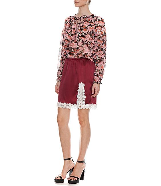 Item - Burgundy White 48 Paris Silky with Lace Trim Skirt Size 12 (L, 32, 33)