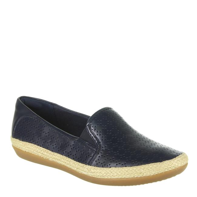 Item - Navy Danelly Molly Perforated Leather Slip On Loafers Flats Size US 8 Wide (C, D)