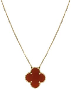 Van Cleef & Arpels Carnelian 20mm Magic Alhambra Pendant Necklace