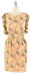 James Coviello Retro Floral Draped Ruffled Sleeve Anthropologie Dress