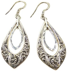 Lois Hill Lois Hill Silver Sterling Hammered Granulated Design Dangle Earrings