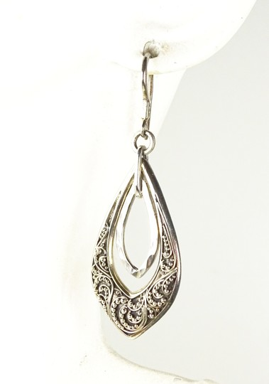 Lois Hill Lois Hill Silver Sterling Hammered Granulated Design Dangle Earrings Image 3