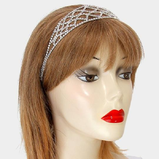 Silver New Crystal Embellished Headband Hair Accessory Image 2