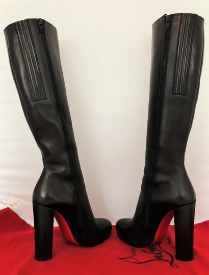Christian Louboutin Thigh High Ankle Over The Knee Heel Black Boots Image 2