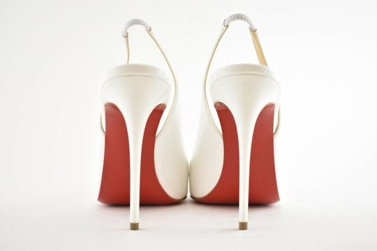 Christian Louboutin Pigalle Stiletto Classic Ankle Strap Drama white Pumps Image 10