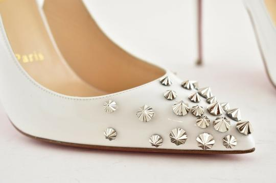 Christian Louboutin Pigalle Stiletto Classic Ankle Strap Drama white Pumps Image 4