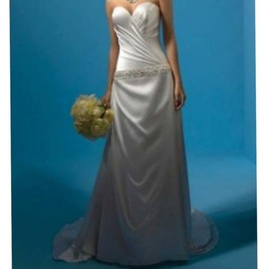 Alfred Angelo Gold Silk Charmeuse Private Collection Trained Gown New Modern Wedding Dress Size 12 (L) Image 1
