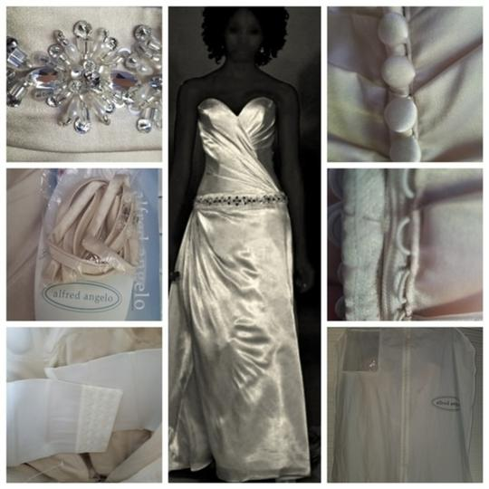 Alfred Angelo Gold Silk Charmeuse Private Collection Trained Gown New Modern Wedding Dress Size 12 (L) Image 3