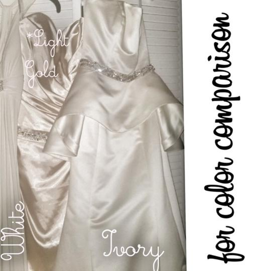 Alfred Angelo Gold Silk Charmeuse Private Collection Trained Gown New Modern Wedding Dress Size 12 (L) Image 5