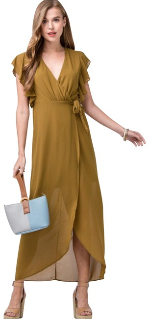 Item - Olive Wrap Flutter Sleeve Midi Long Casual Maxi Dress Size 4 (S)