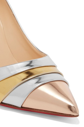 Christian Louboutin Pigalle Stiletto Classic Ankle Strap Drama silver Pumps Image 4