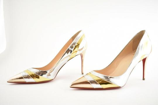 Christian Louboutin Pigalle Stiletto Classic Ankle Strap Drama silver Pumps Image 9