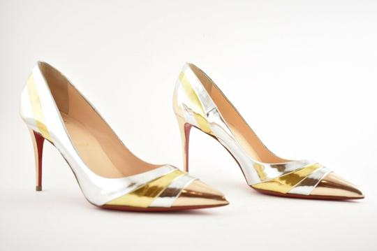 Christian Louboutin Pigalle Stiletto Classic Ankle Strap Drama silver Pumps Image 3
