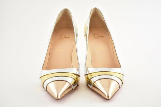 Christian Louboutin Pigalle Stiletto Classic Ankle Strap Drama silver Pumps Image 5