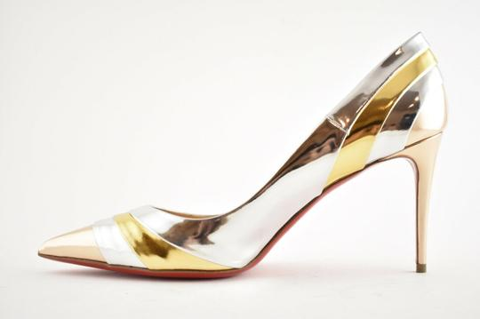 Christian Louboutin Pigalle Stiletto Classic Ankle Strap Drama silver Pumps Image 8