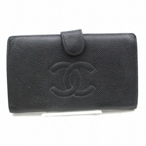 Chanel CHANEL CC Black Caviar Skin Long Bifold Wallet
