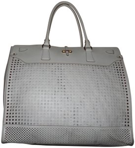 Salvatore Ferragamo Leather Perforated Tote in White - item med img