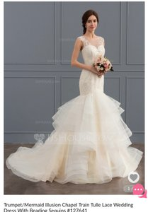 6404f5de1 JJ's House White Lace Tulle Dress-mermaid Feminine Wedding Dress Size 2 ...