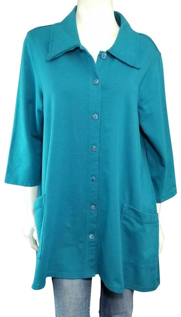 Item - Teal Boho Button-up French Terry Stretch Hi-lo Jacket Size 16 (XL, Plus 0x)