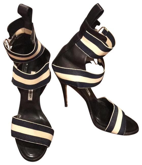 Item - Navy Blue and Cream Buckle Strap Stiletto Sandal Formal Shoes Size EU 38 (Approx. US 8) Regular (M, B)