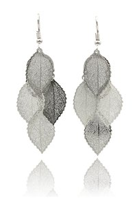 Ocean Fashion Silver elegant long large leaf earrings