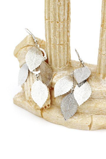 Ocean Fashion Silver elegant long large leaf earrings Image 1