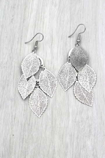 Ocean Fashion Silver elegant long large leaf earrings Image 2