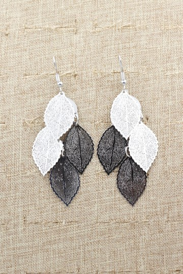 Ocean Fashion Silver elegant long large leaf earrings Image 3