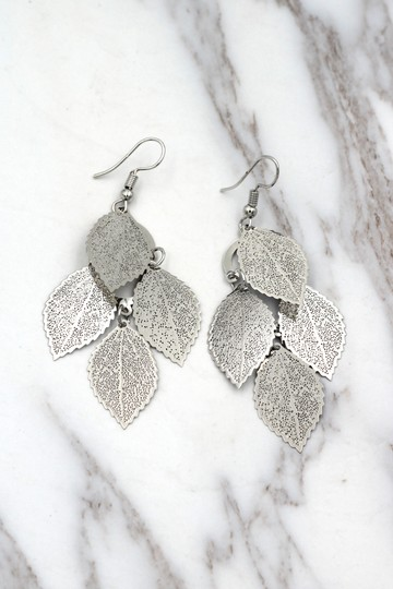 Ocean Fashion Silver elegant long large leaf earrings Image 4