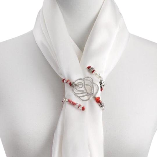 Preload https://img-static.tradesy.com/item/25569994/silver-and-pink-silverpink-beaded-scarf-twist-rose-0-1-540-540.jpg
