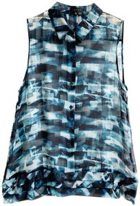 Theory Sleeveless Silk Sheer Top Blue - item med img