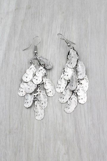 Ocean Fashion silver Long small feather earrings Image 3