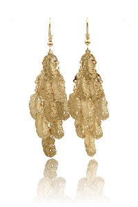 Ocean Fashion Gold long small feather earrings