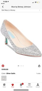 Betsey Johnson Silver Satin Blue Jora Evening Pumps Size US 11 Regular (M, B)