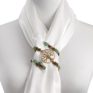 Studio Gold/Green Beaded Scarf Twist - Tree of Life